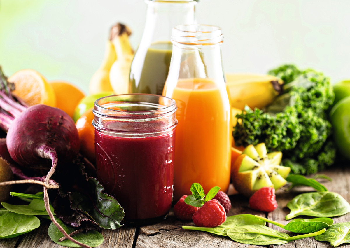 An explosion of fresh fruits and vegetables juices