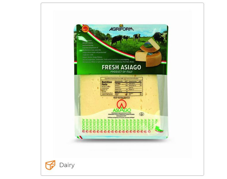 Fresh Asiago PDO 1,5 Lb - Agriform