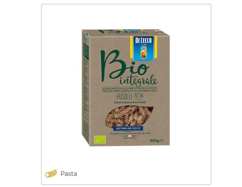 Organic wholemeal pasta - De Cecco
