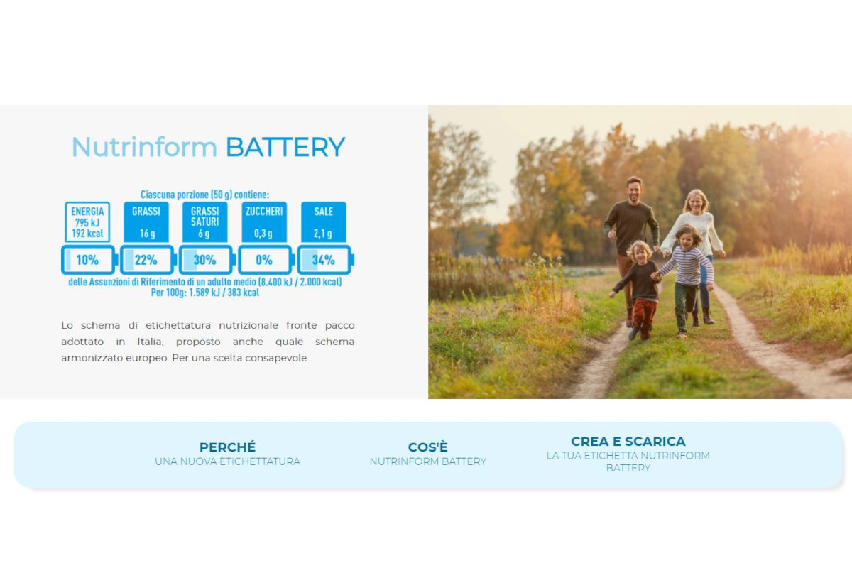 Italy launches a website dedicated to NutrInform Battery
